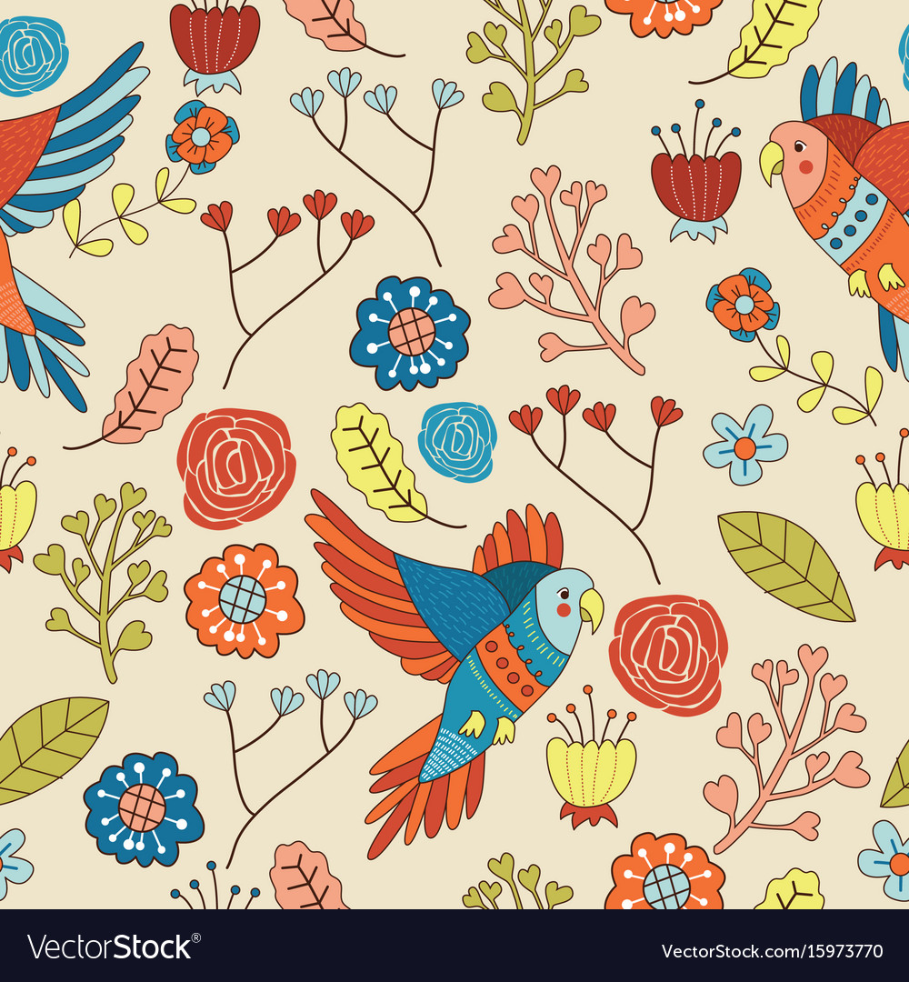 Seamless bird floral pattern wallpaper vector image