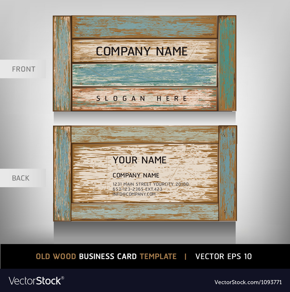 Weathered board business card vector image