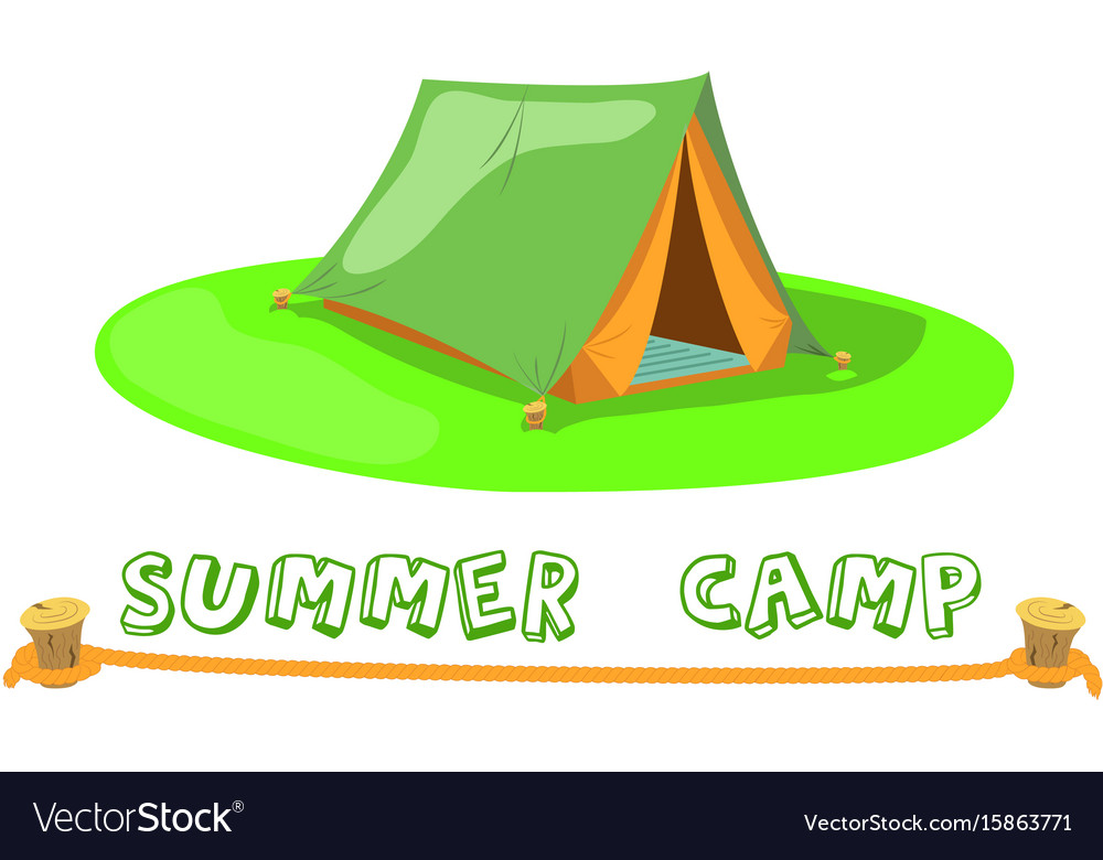 Summer camp tent on green lawn camp tent vector image