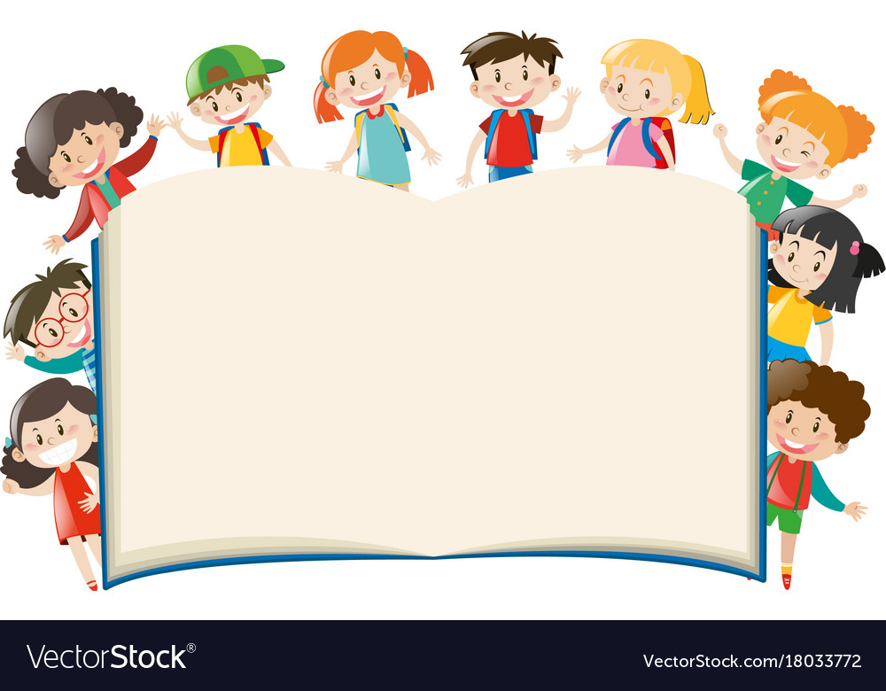 background template with kids around book vector image - Kids Book Template