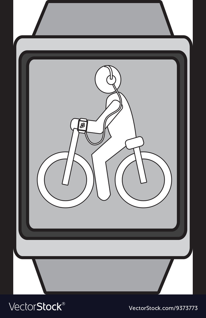 Square watch with cartoon human working out vector image