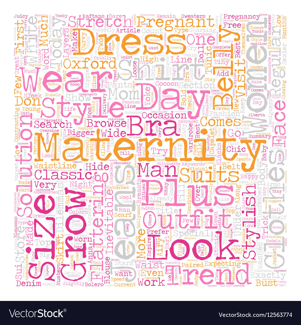 Maternity Clothes Trends text background wordcloud vector image