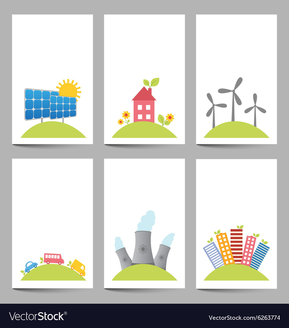 Solar windmills and nuclear power plants banners vector image