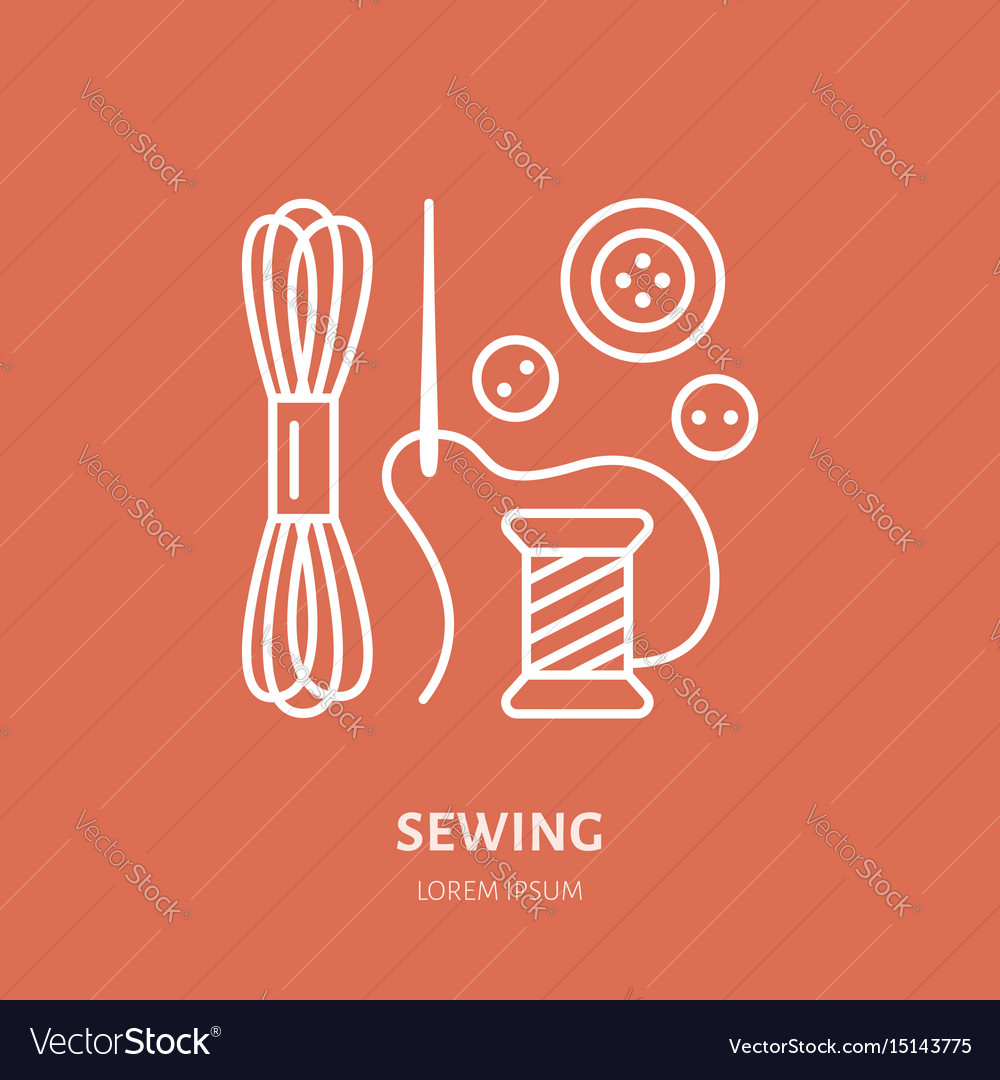 Clothing repair service line logo tailor store vector image
