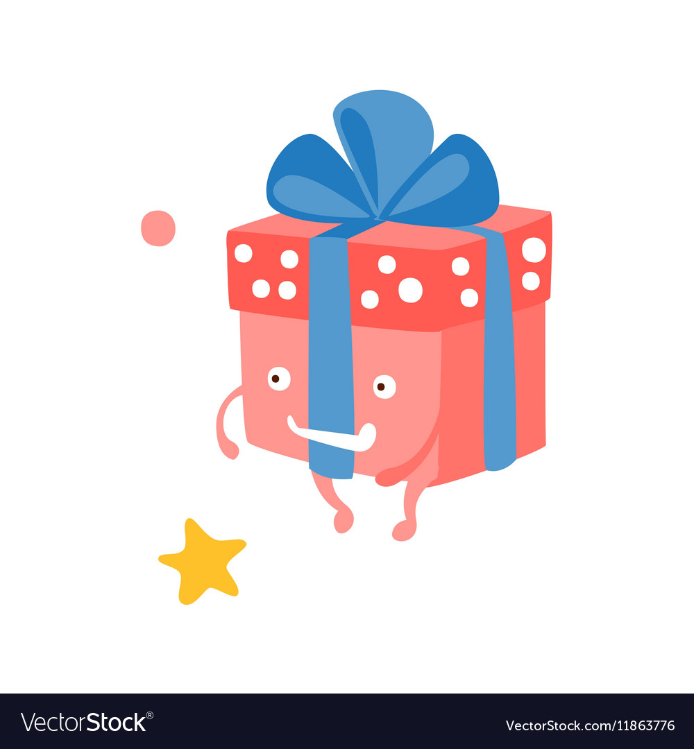 Wrapped Gift Box With Ribbon Children Birthday vector image