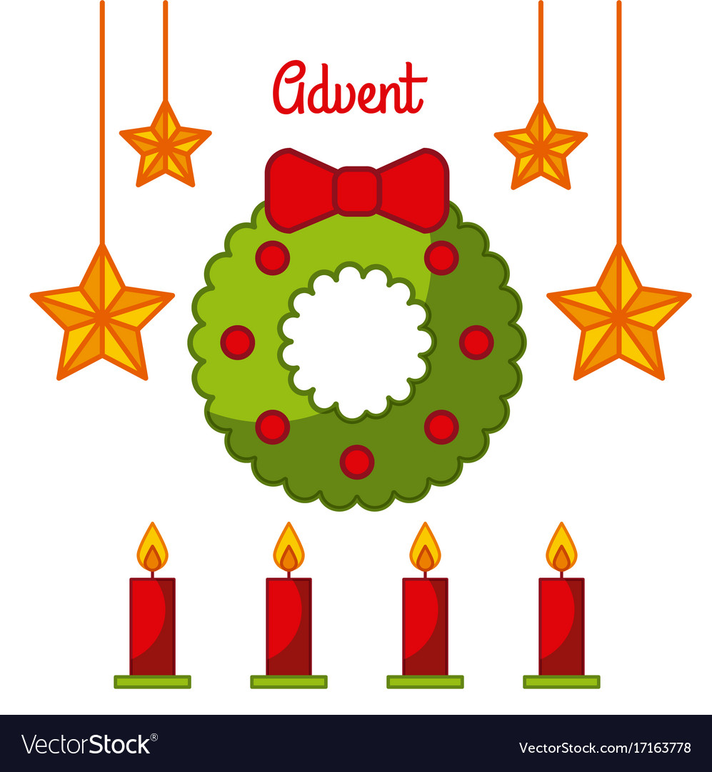 Advent wreath star candles decoration celebration vector image