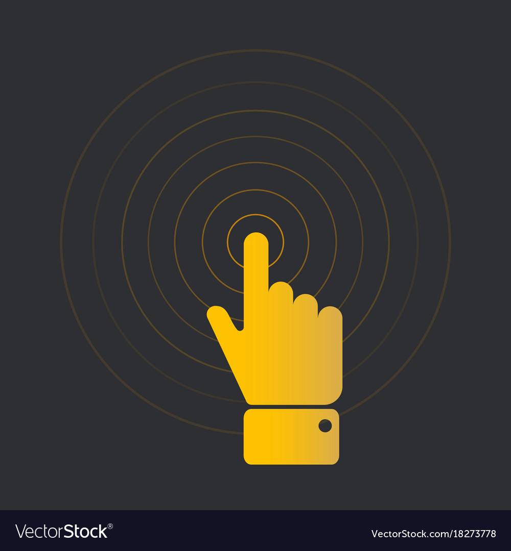 Clicking finger with circles vector image