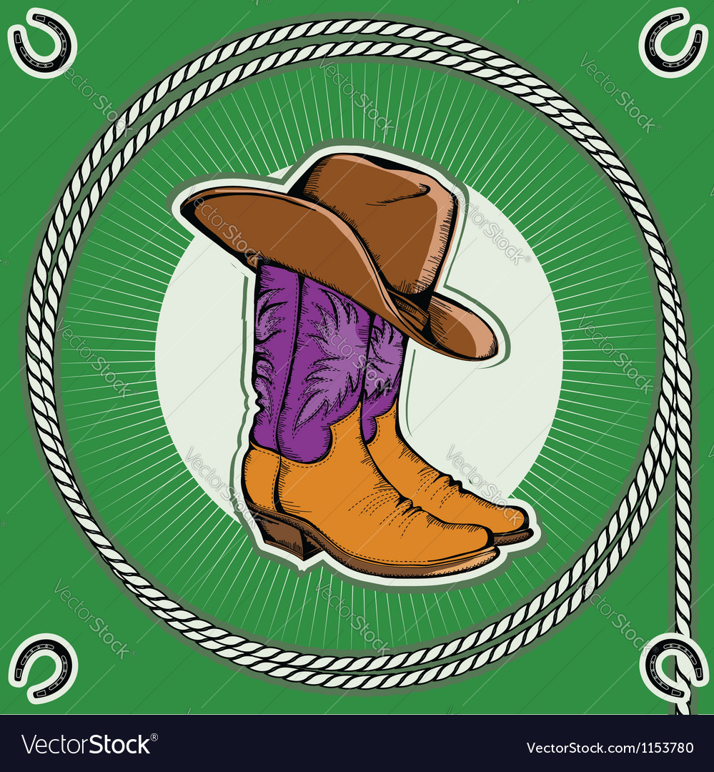 Cowboy bootsVintage western decor background with vector image
