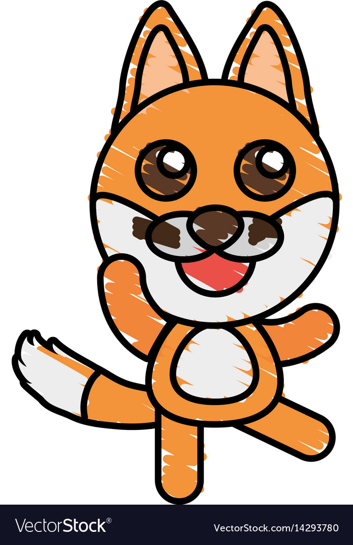 Drawing fox animal character vector image