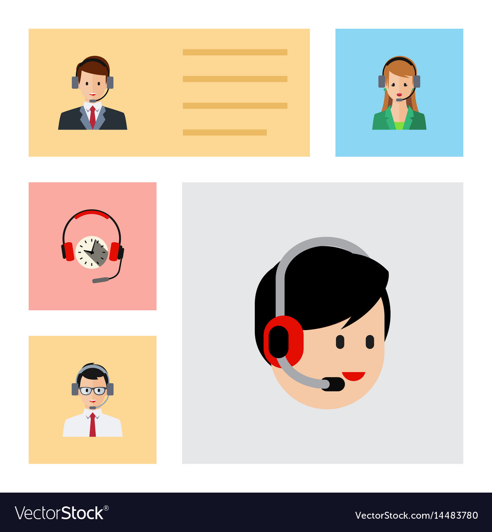 Flat center set of secretary operator hotline vector image