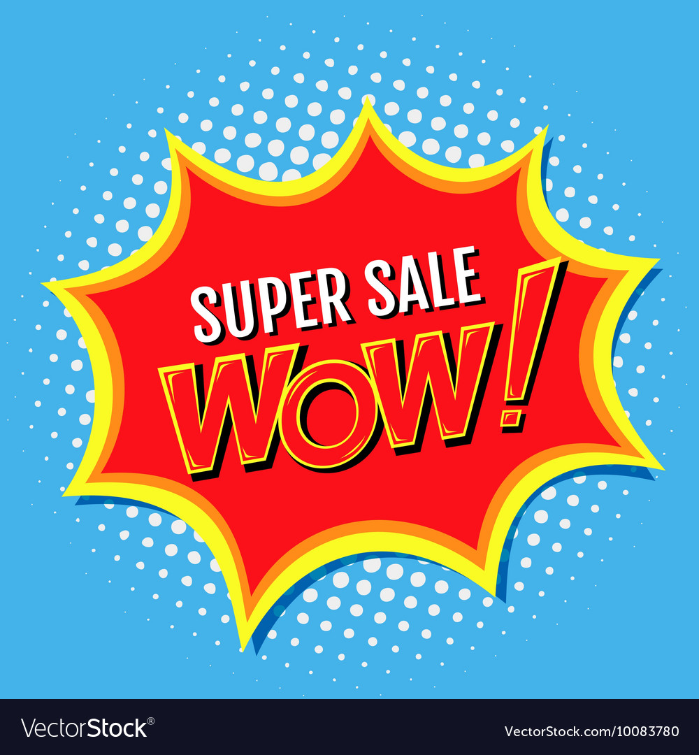 Super sale a banner in style of comics popart vector image