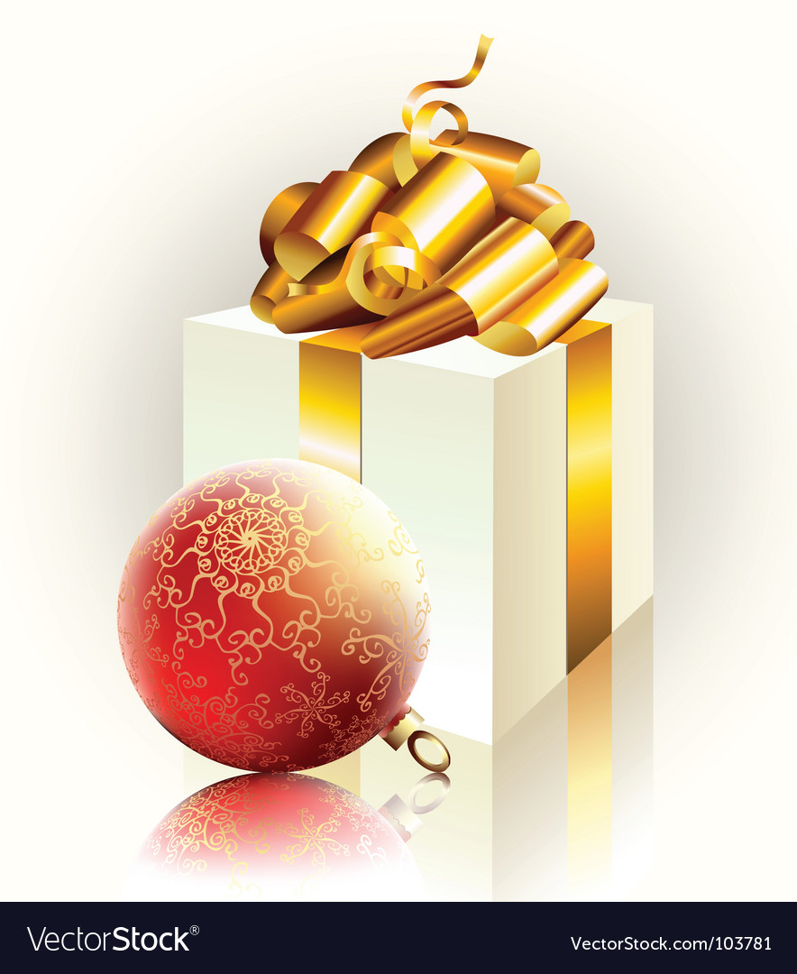 Christmas gift and ball vector image