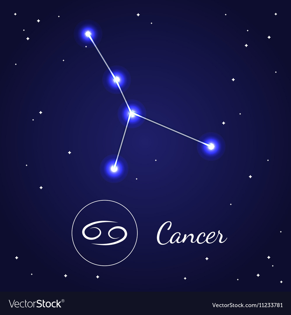 Cancer zodiac sign stars on the cosmic sky vector image buycottarizona Images