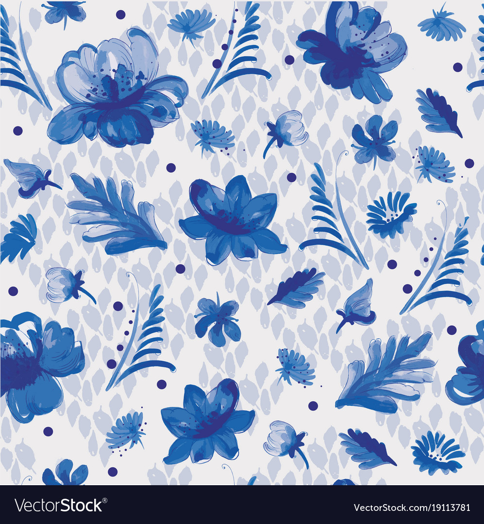 Painting flowers in blue and white royalty free vector image painting flowers in blue and white vector image izmirmasajfo