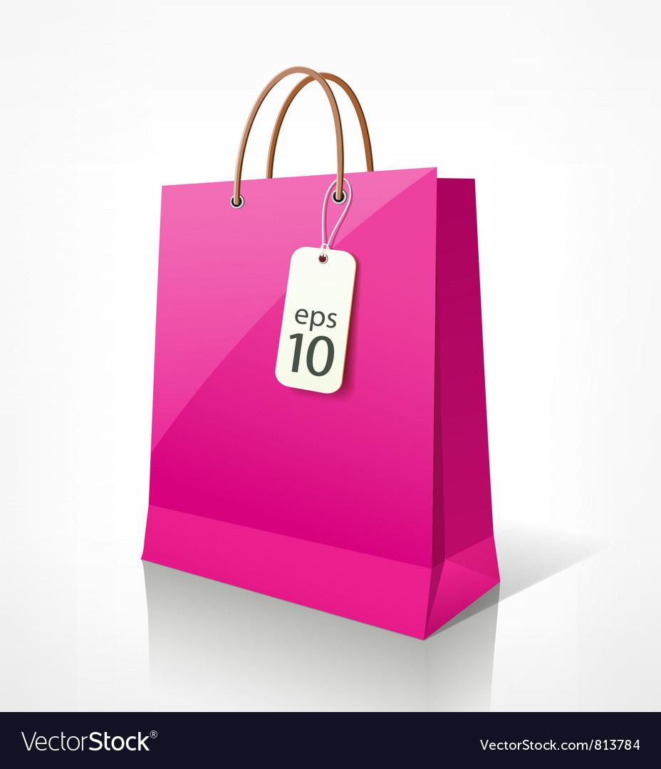 Shopping bag pink vector image