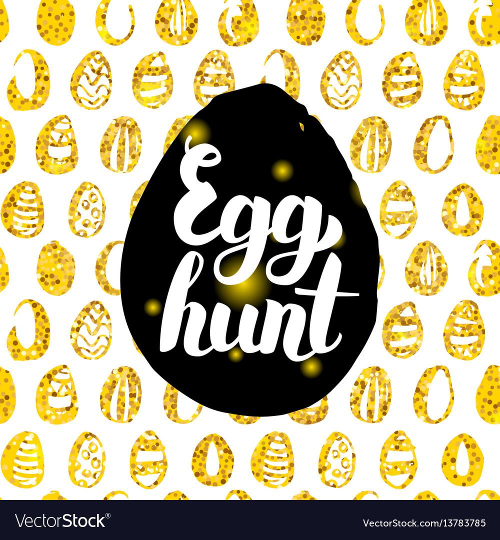Egg hunt postcard design vector image