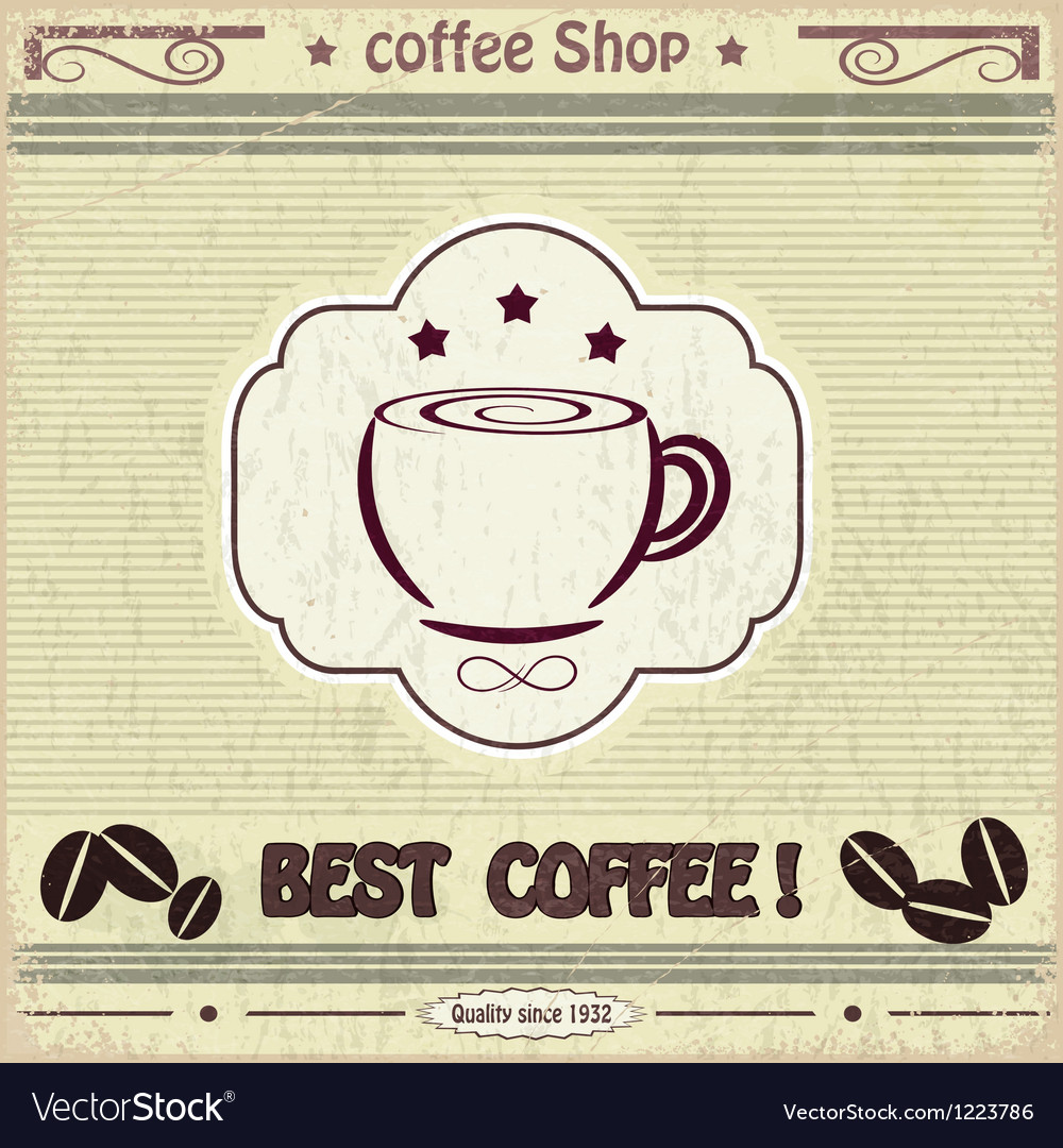 Vintage label coffee shop vector image