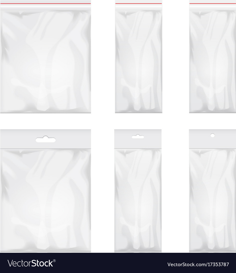 Blank transparent plastic bag template set of vector image