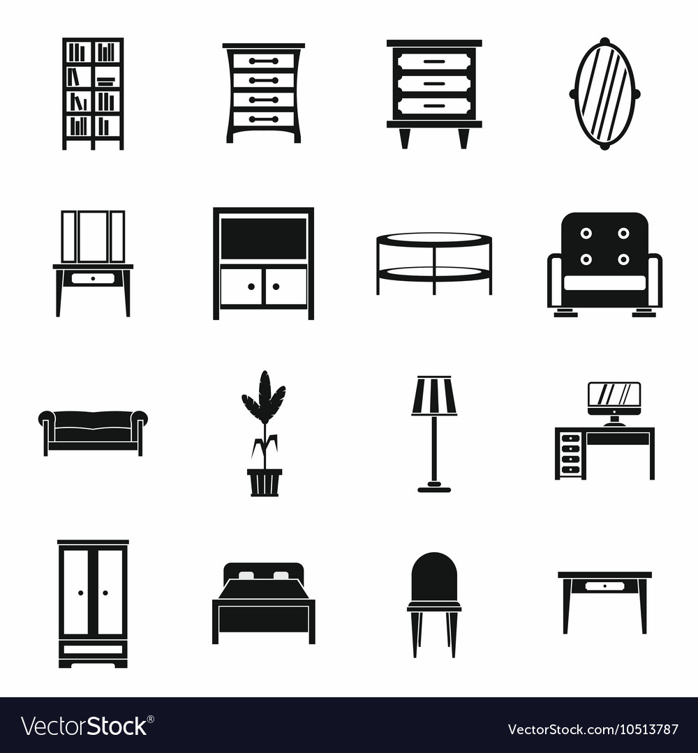 Furniture icons set simple style vector image