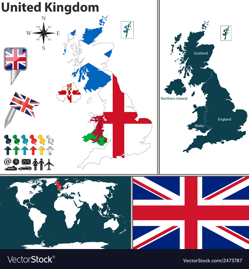 United kingdom map with regions and flags vector image gumiabroncs Images