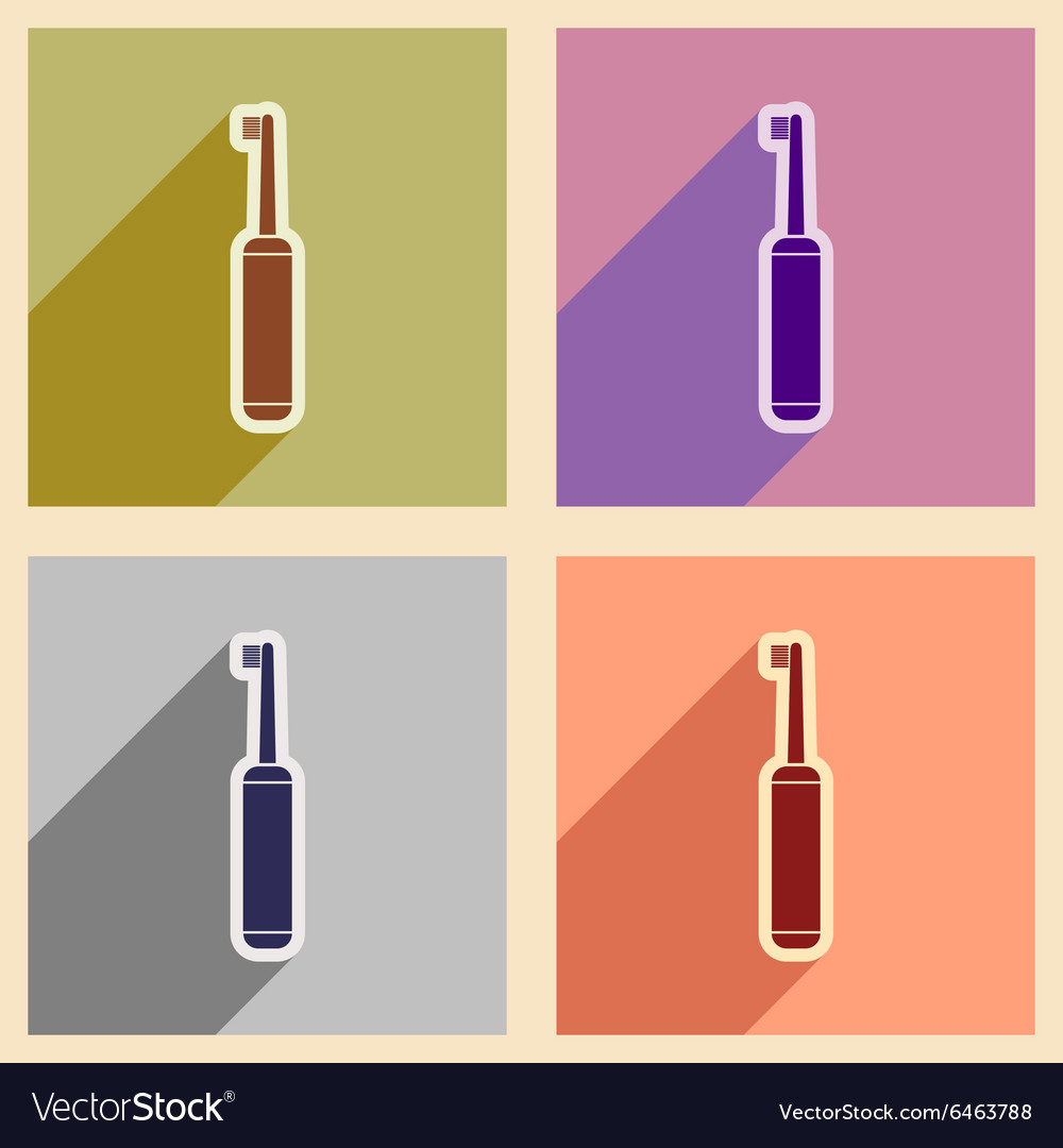 Icons of assembly toothbrush in flat style