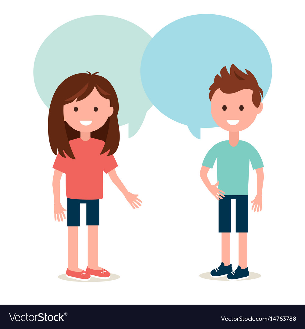 Boy and girl talking to each other conversation vector image