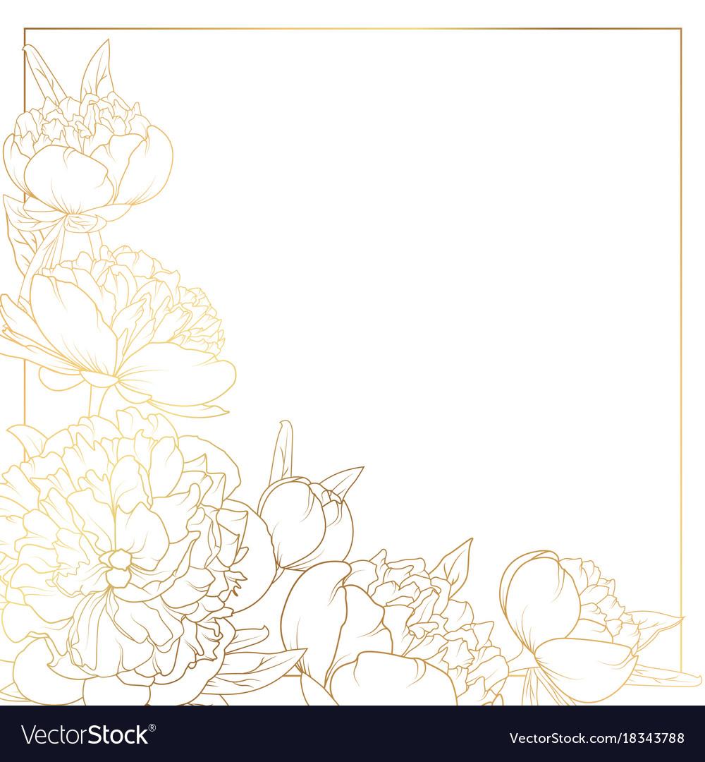 Rose peony flowers border frame corner bright gold vector image