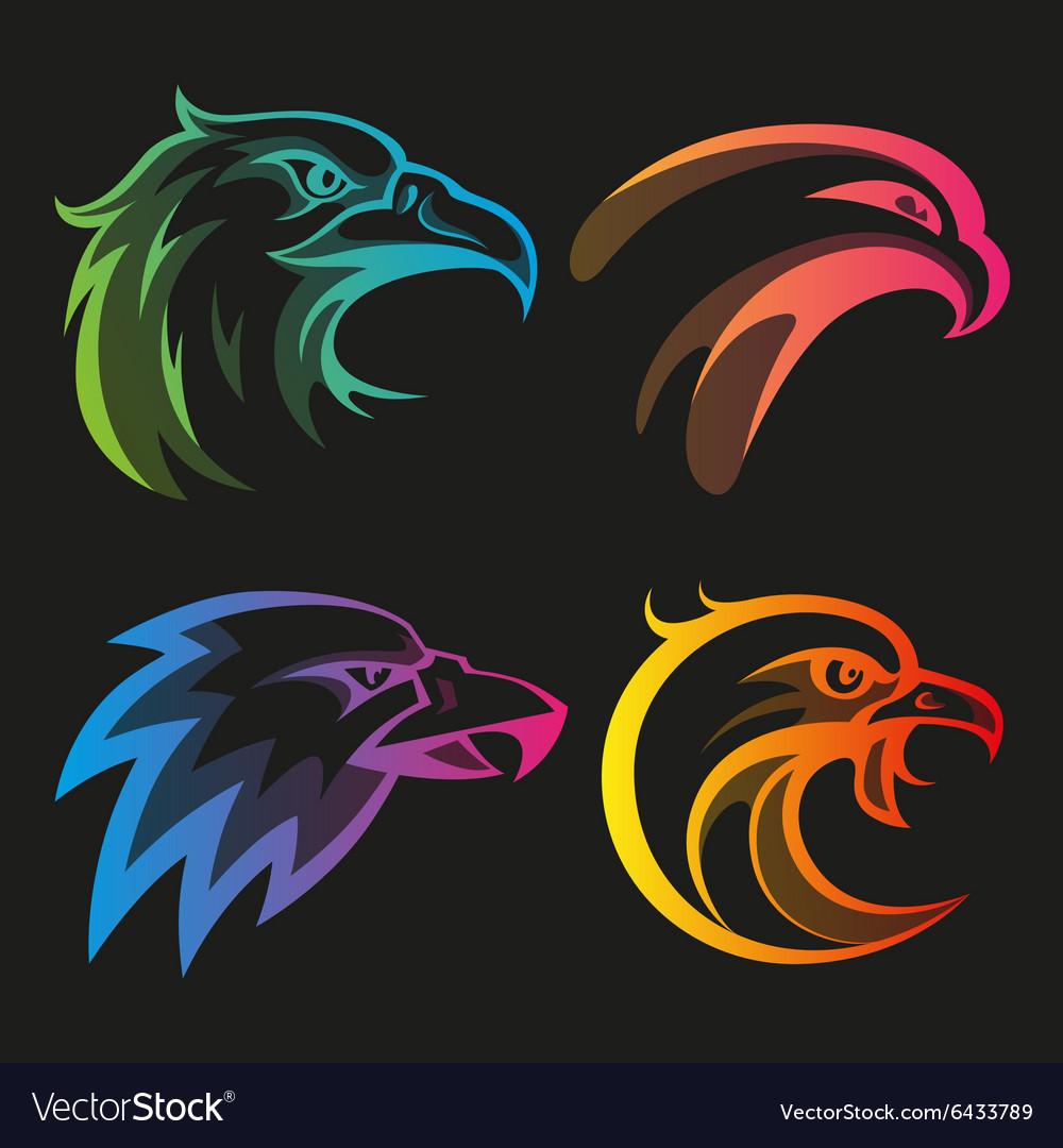 Colorful eagle head logos with rainbow gradients vector image