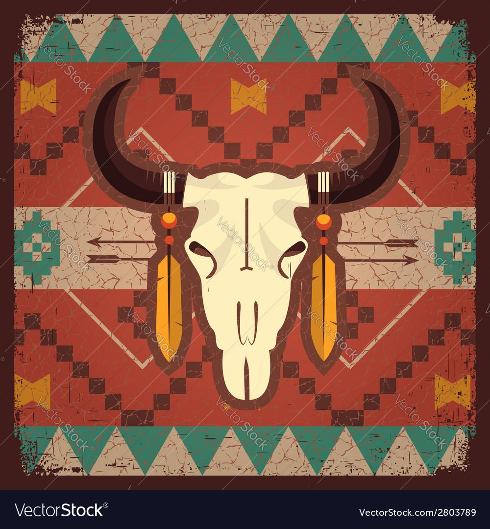 Skull bull with ethnic ornament vector image