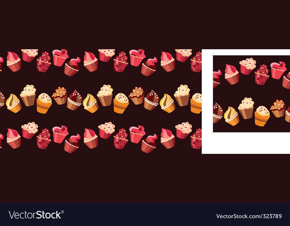 Two seamless cupcake borders vector image