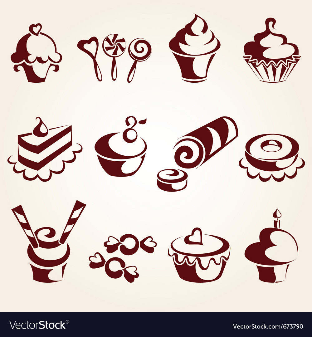 Sweet pastry set vector image
