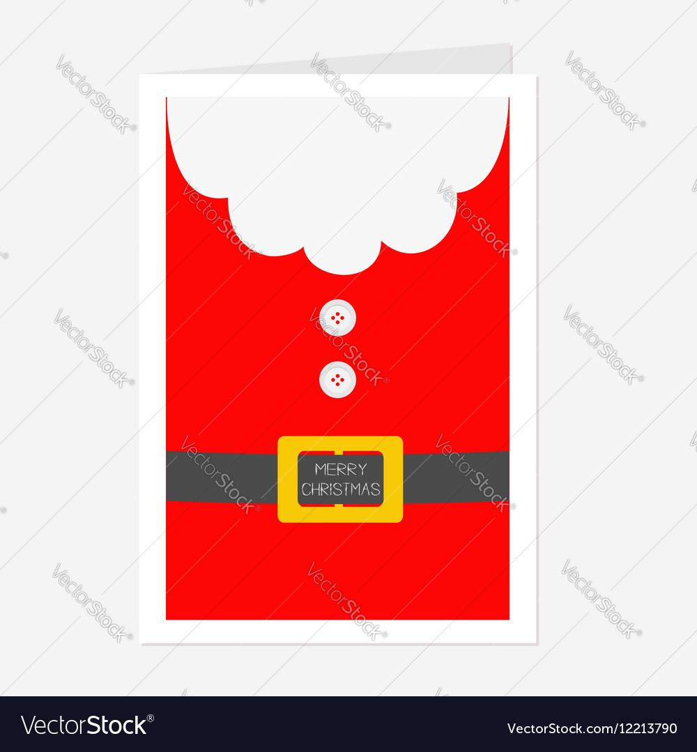 santa claus coat beard fur button and yellow belt vector image - Santa Claus Coat