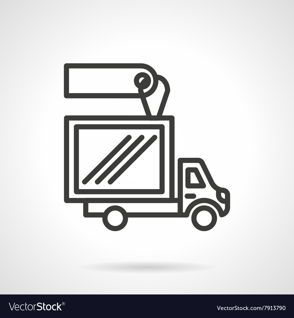Truck with label black line design icon vector image