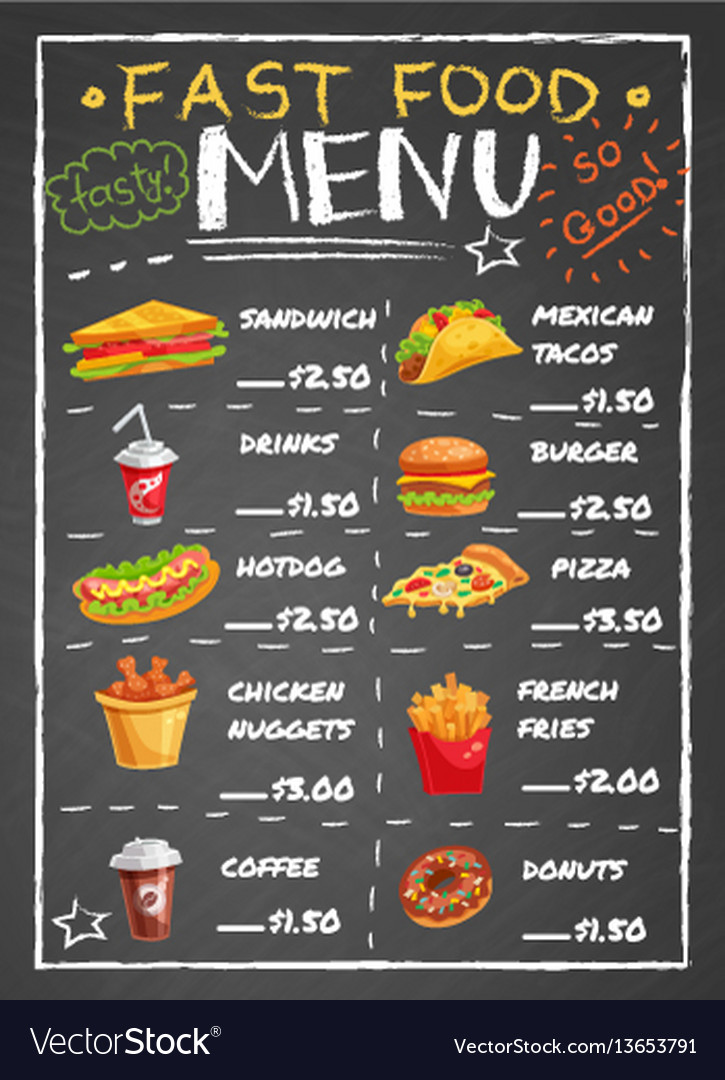 Fast food restaurant menu on chalkboard vector image