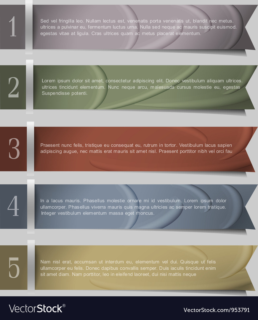 Numbered ribbons banners vector image