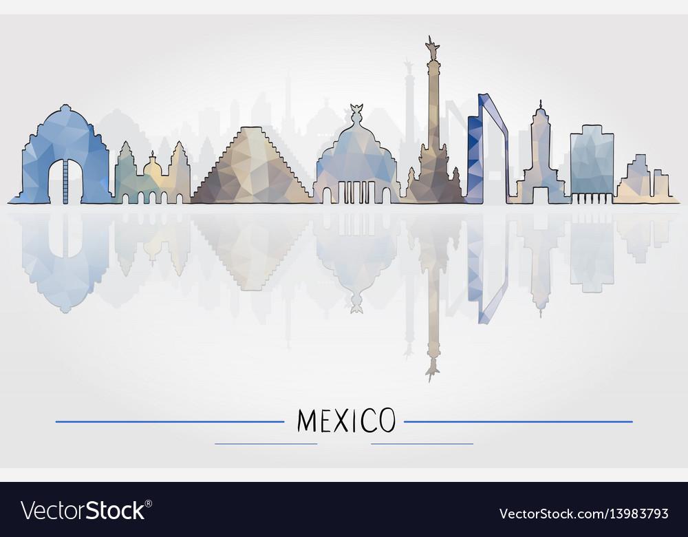 Tourism concept mexico architecture vector image
