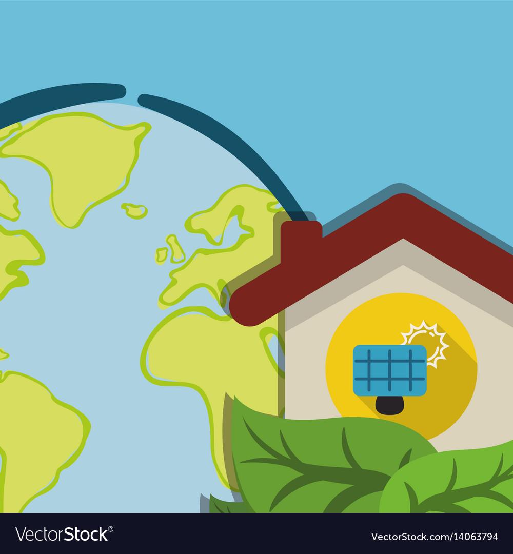 Globe home energy solar panel ecology vector image