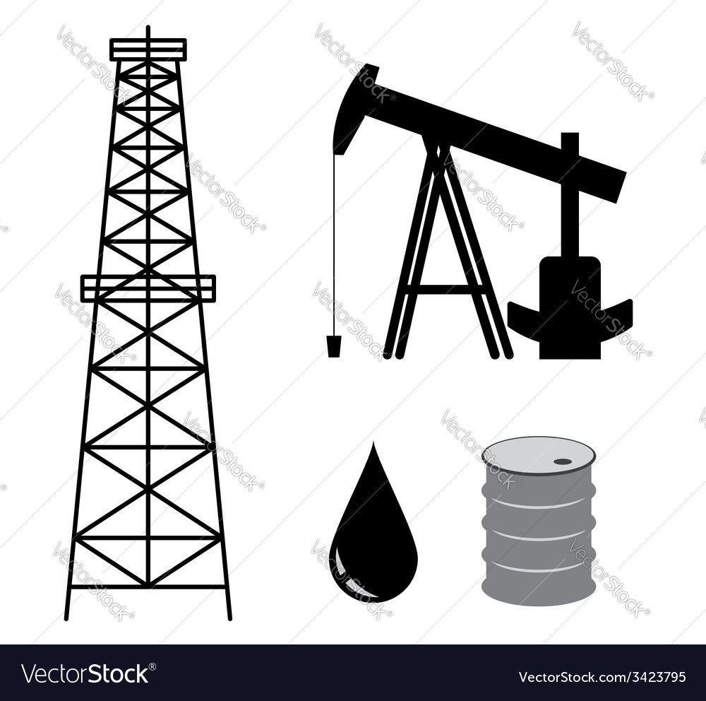 Oil derrick with pump and barrel - set vector image