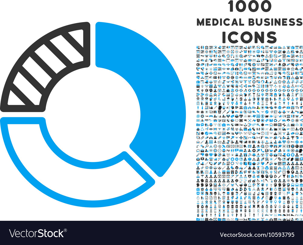 Pie Chart Icon with 1000 Medical Business Icons vector image