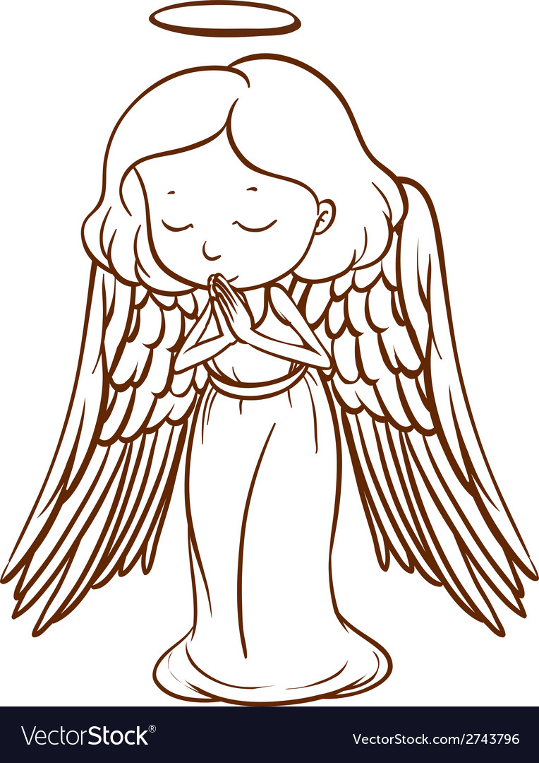 a simple sketch of an angel praying royalty free vector