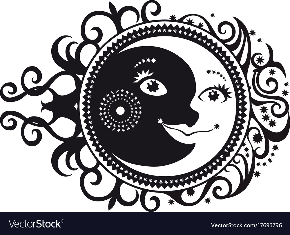 Abstract pattern crescent moon and sun symbol vector image biocorpaavc Images