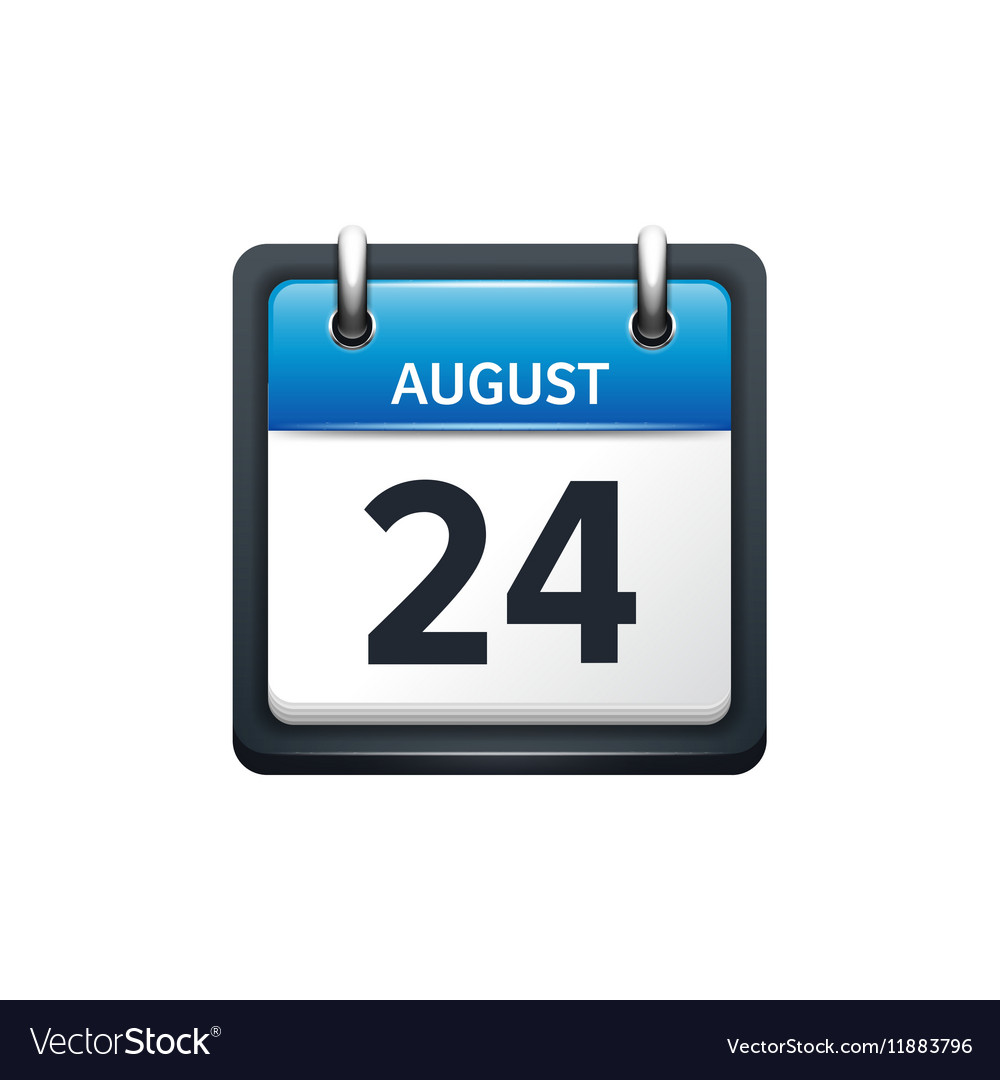 August 24 Calendar icon flat vector image