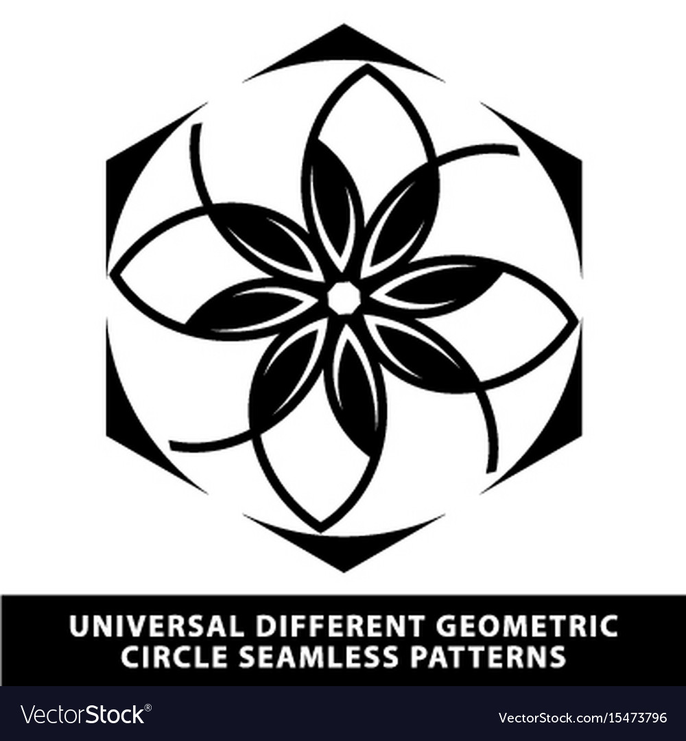 Pattern seamless floral tile circle black and vector image