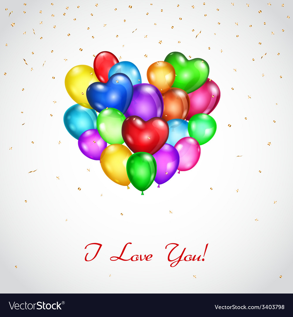 Background with colored balloons heart-shaped vector image