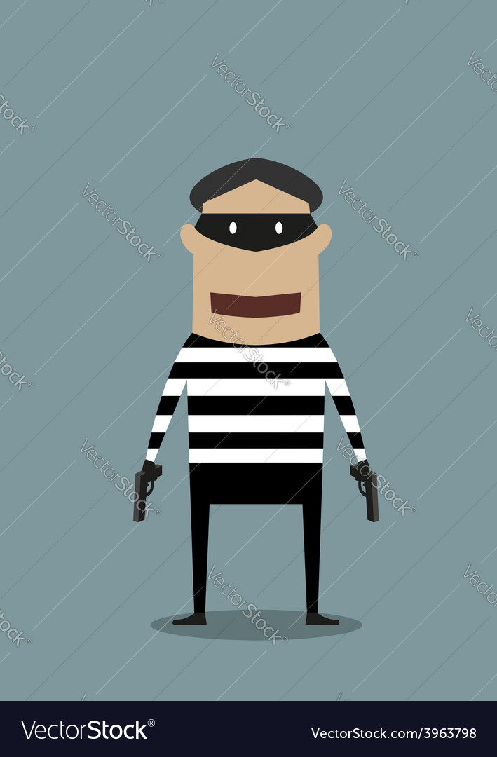 Cartoon character thief or robber vector image