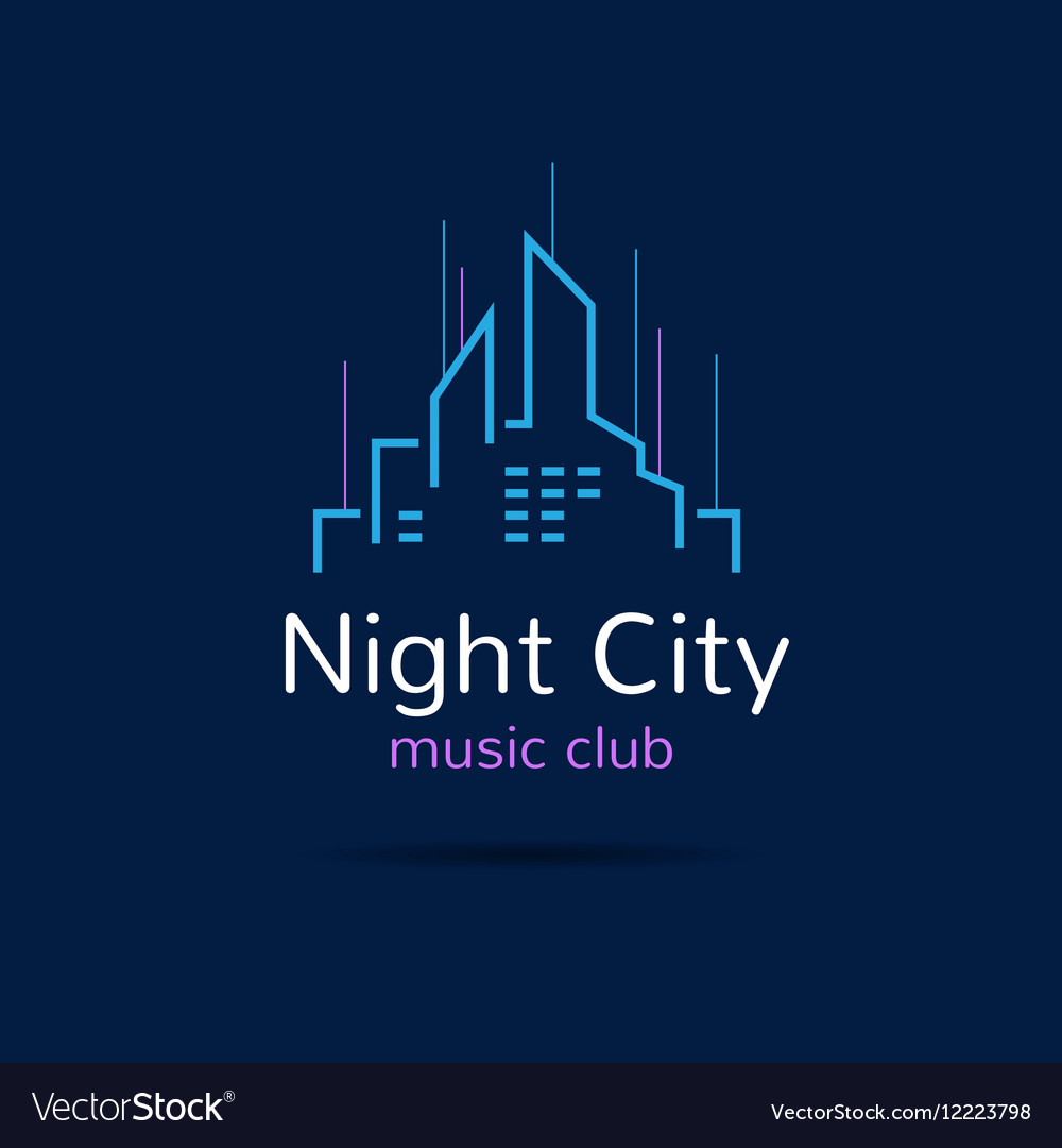 Night city logo city skyline logotype vector image