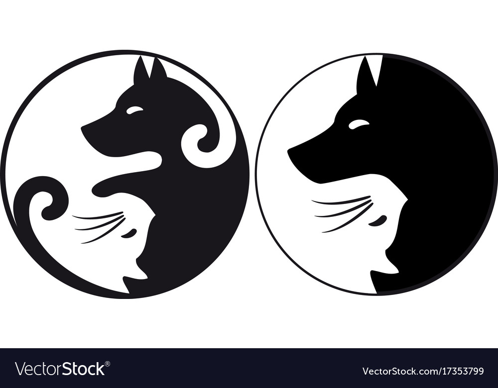 Yin yang symbol cat and dog vector image