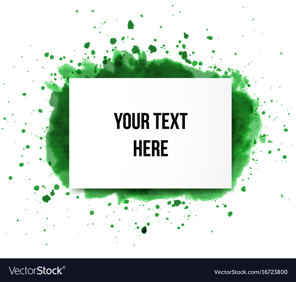 Green grunge splash and realistic paper background vector image