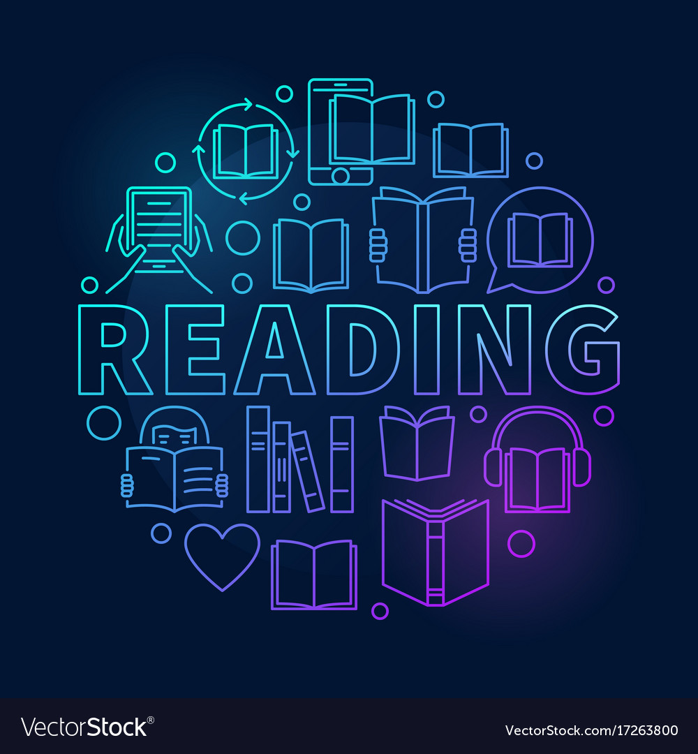 Reading round colorful vector image