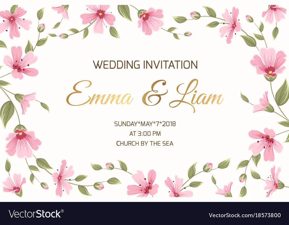 Wedding invitation gypsophila flowers border frame